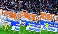 Manuel Neuer pretends to kick a ball at a ball-boy
