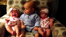 Adorably confused baby meets twins funny