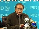 Pervez Rashid Condemn Attack On Geo News Anchor Sana Mirza-Geo Reports-15 Dec 2014