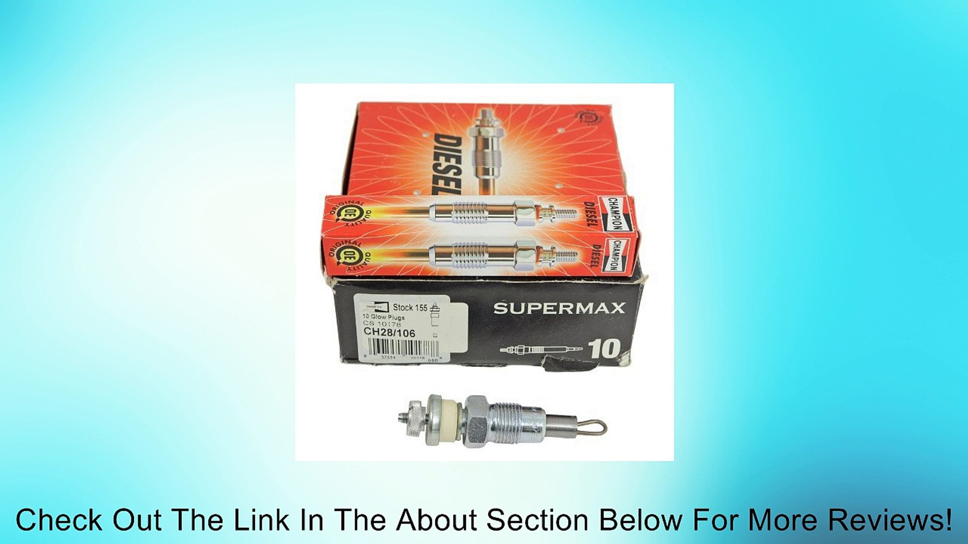 Champion Diesel Glow Plug Stock Number 190 Type CH237 PACK OF 10