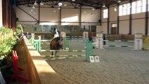 Un cheval fait du saut d'obstacles en solo après avoir largué sa cavalière