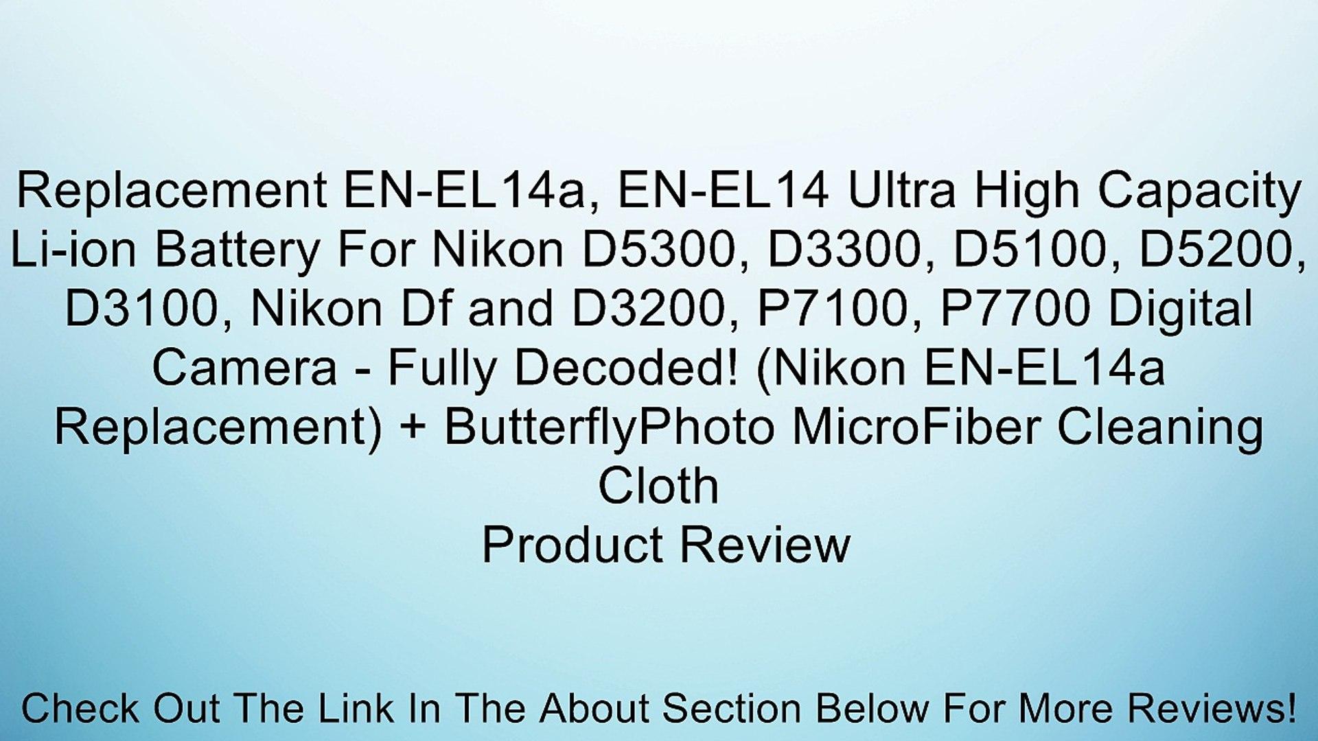 Bateria para Nikon en-el14 en-el14a con info chip d5200 d5100 d3200 d3100 p7800 p7700