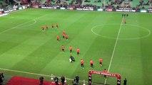 Stade Rennais F.C / Reims : entrée des rennais à l'échauffement