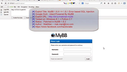 Sql Injection Vulnerability Found by Security Researcher in MyBB