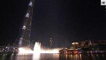 The Dubai Fountain, Downtown Dubai performs Flying Drum 2015 New Yyear Celebration