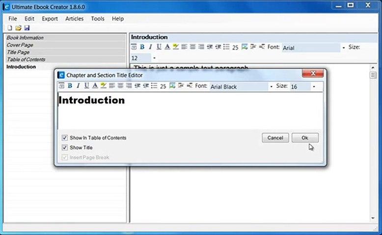 Creating Ebooks Chapters, Titles and Sections Using Ultimate Ebook Creator  Software