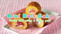 How to Make Mini Strawberry Roll Cake Without Oven (Swiss Roll Using Frying Pan) Recipe フライパンでロールケーキ