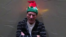 Patrick Stewart in a light-up, singing Christmas hat