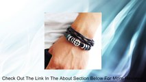 Fashion jewelry bangle bracelet made of black leather and beads, cross charm bracelet couple bracelet with metal woven snapper SL2615 Review