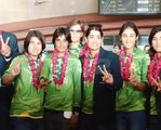 Women Cricket Team Arrival Airport After Winning T20 World Cup Qualifying Round In Ireland Pkg By Na