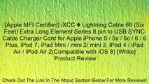[Apple MFI Certified] iXCC � Lightning Cable 6ft (Six Feet) Extra Long Element Series 8 pin to USB SYNC Cable Charger Cord for Apple iPhone 5 / 5s / 5c / 6 / 6 Plus, iPod 7, iPad Mini / mini 2/ mini 3, iPad 4 / iPad Air / iPad Air 2(Compatible with iOS 8)