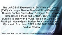 """The LARGEST Exercise Mat. 96"""" Wide x 72"""" Long, (8'x6'). 4X Larger Than A Standard Sized Fitness Mat. Durable Rubber Fitness Mat. Designed To Use With Home-Based Fitness and CARDIO DVD's. Super Durable To Use With SHOES. Ideal For Cardio Gym Flooring in Ho"""