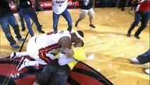 LeBron tackles Heat fan who hits $75,000 shot!