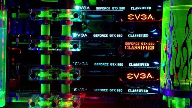 Slinky PC 4Way SLI ~ EVGA GTX 980 K NGP N Hydro Led Display