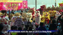 Lion dances mark the start of 2015 in Hong Kong