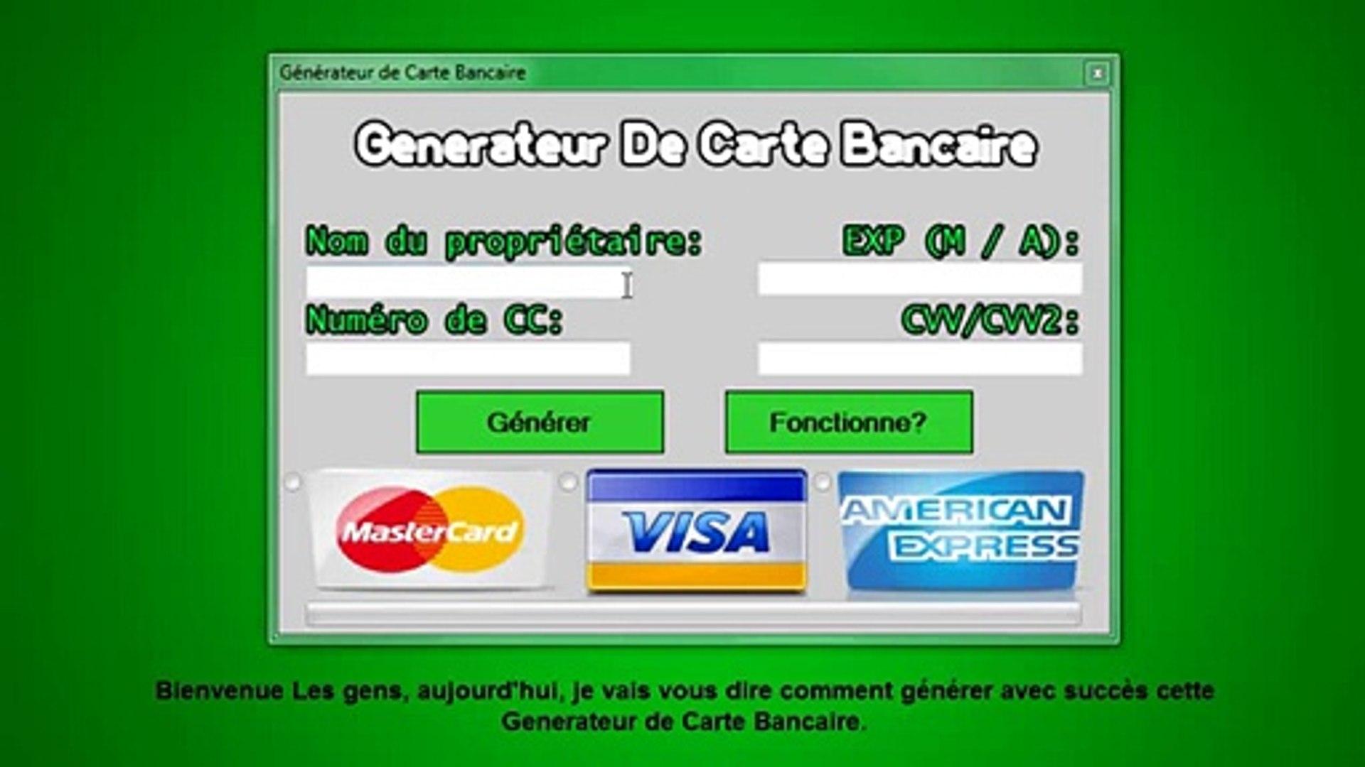 DE BANCAIRE CARTE GENERATEUR TÉLÉCHARGER