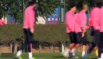 Tremendo empujon de Luis Suarez a Neymar | Luis Suarez pushes Neymar Training  FC Barcelona