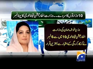 Geo News Headlines 4 January 2015, IT Ministry Anusha Rehman Declared