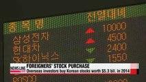 Foreign investors buy Korean stocks worth $5.1 bil. in 2014