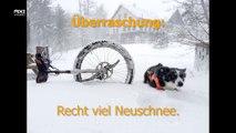 Einrad MUni Runde: Unten nass, oben verschneit und Sturm