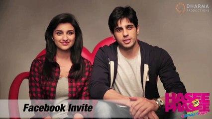 Parineeti Chopra, Sidharth Malhotra - Facebook Invite - Hasee Toh Phasee