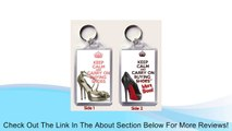 A Large Keyring with KEEP CALM AND CARRY ON BUYING SHOES with a picture of a pair of Jimmy Choo shoes on one side and KEEP CALM AND CARRY ON BUYING MORE SHOES with a picture of a Christian Louboutin shoe with an iconic red sole on the reverse. Review