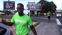 2014/12/31 10h32 Défi +50Km de Marche Coach Mickael Plocoste Solidarité Paix Guadeloupe Départ 7h10 Hôtel-de-Ville Baie-Mahault Arrivée 14h40 Mairie Saint-François Mercredi 31 Décembre 2014