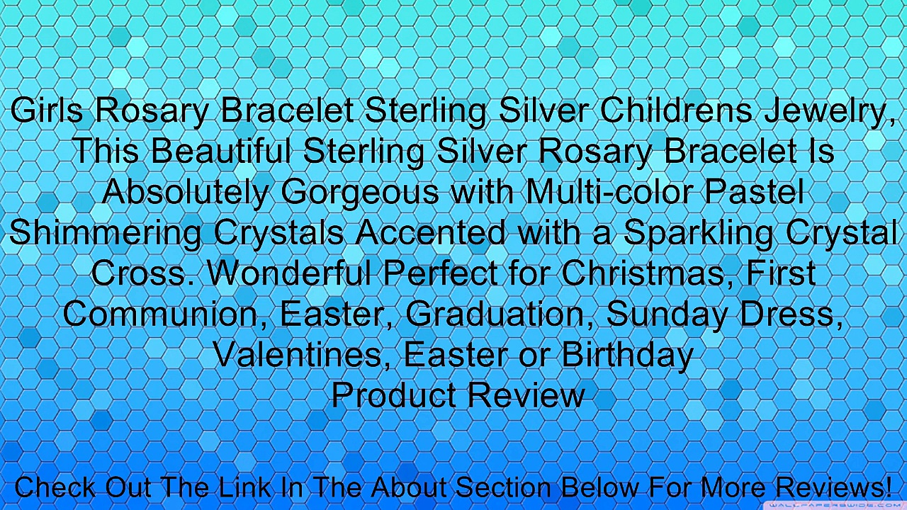 Girls Rosary Bracelet Sterling Silver Childrens Jewelry, This Beautiful Sterling Silver Rosary Bracelet Is Absolutely Gorgeous with Multi-color Pastel Shimmering Crystals Accented with a Sparkling Crystal Cross. Wonderful Perfect for Christmas, First Comm