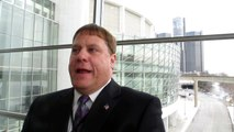 Cobo Center CEO Patrick Bero explains recent Cobo renovations to NewCarNews.TV Bob Giles