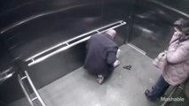 Police officer accidentally shooting himself with his gun - Elevator footage