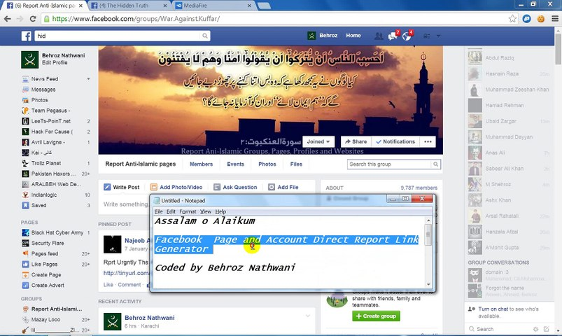 Facebook Page and Account Direct Report Link Generator