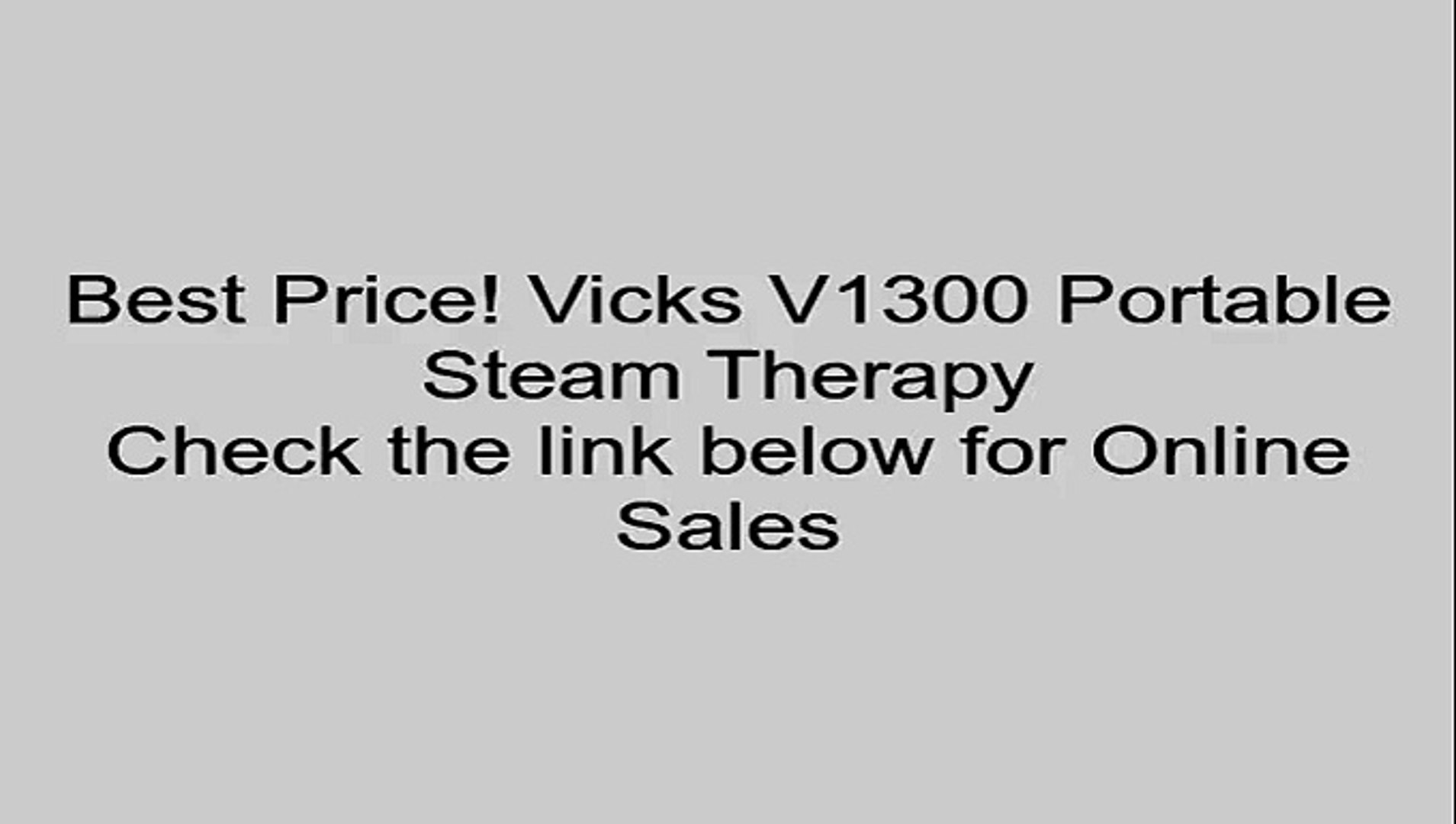 Vicks V1300 Portable Steam Therapy Review