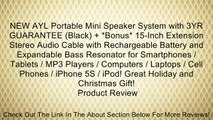 NEW AYL Portable Mini Speaker System with 3YR GUARANTEE (Black) + *Bonus* 15-Inch Extension Stereo Audio Cable with Rechargeable Battery and Expandable Bass Resonator for Smartphones / Tablets / MP3 Players / Computers / Laptops / Cell Phones / iPhone 5S