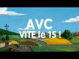 """France AVC, SFNV (Société française neuro-vasculaire), Bayer Healthcare - organismes de santé, """"AVC, vite le 15 !"""" - octobre 2012"""