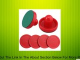 Set of Two Red Air Hockey Pushers and Four Red Pucks Review