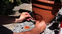 Learn How to repair a cracked clay pot - broken parts fast ! How to fix broken pots