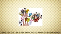 Story Time Finger Puppets - 10 pcs Velvet Animal and 6 pcs Soft Plush Family Puppets With Bonus Review