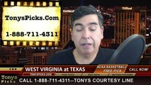 Texas Longhorns vs. West Virginia Mountaineers Free Pick Prediction NCAA College Basketball Odds Preview 1-17-2015