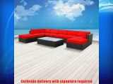 Luxxella Patio Mallina Outdoor Wicker Furniture 9-Piece All Weather Couch Sofa Set Red