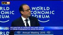 Davos : Extrait du discours de François Hollande (BFMTV)