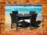 Outdoor Patio Wicker Furniture New Resin 5-Piece Round Dining Table
