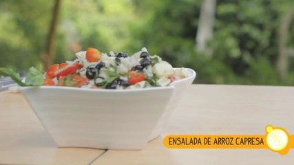 CÓMO HACER ENSALADA CAPRESA DE ARROZ CON VINAGRETA DE ALBAHACA