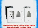 Datacomm 50-3321-WH-KIT Flat Panel TV Cable Organizer Remodeling Kit with Power Outlet - White