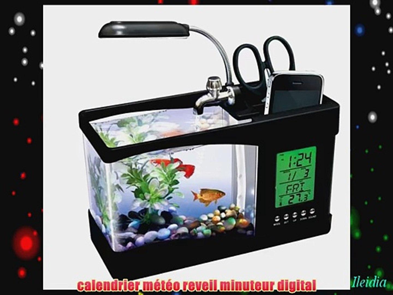AQUARIUM USB avec eau coulante et filtr?e et ?clairage LED support t?l?phone smartphone station