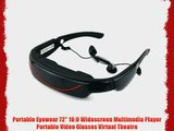 Portable Eyewear 72-Inch 16:9 Widescreen Multimedia Player Portable Video Glasses Virtual Theatre