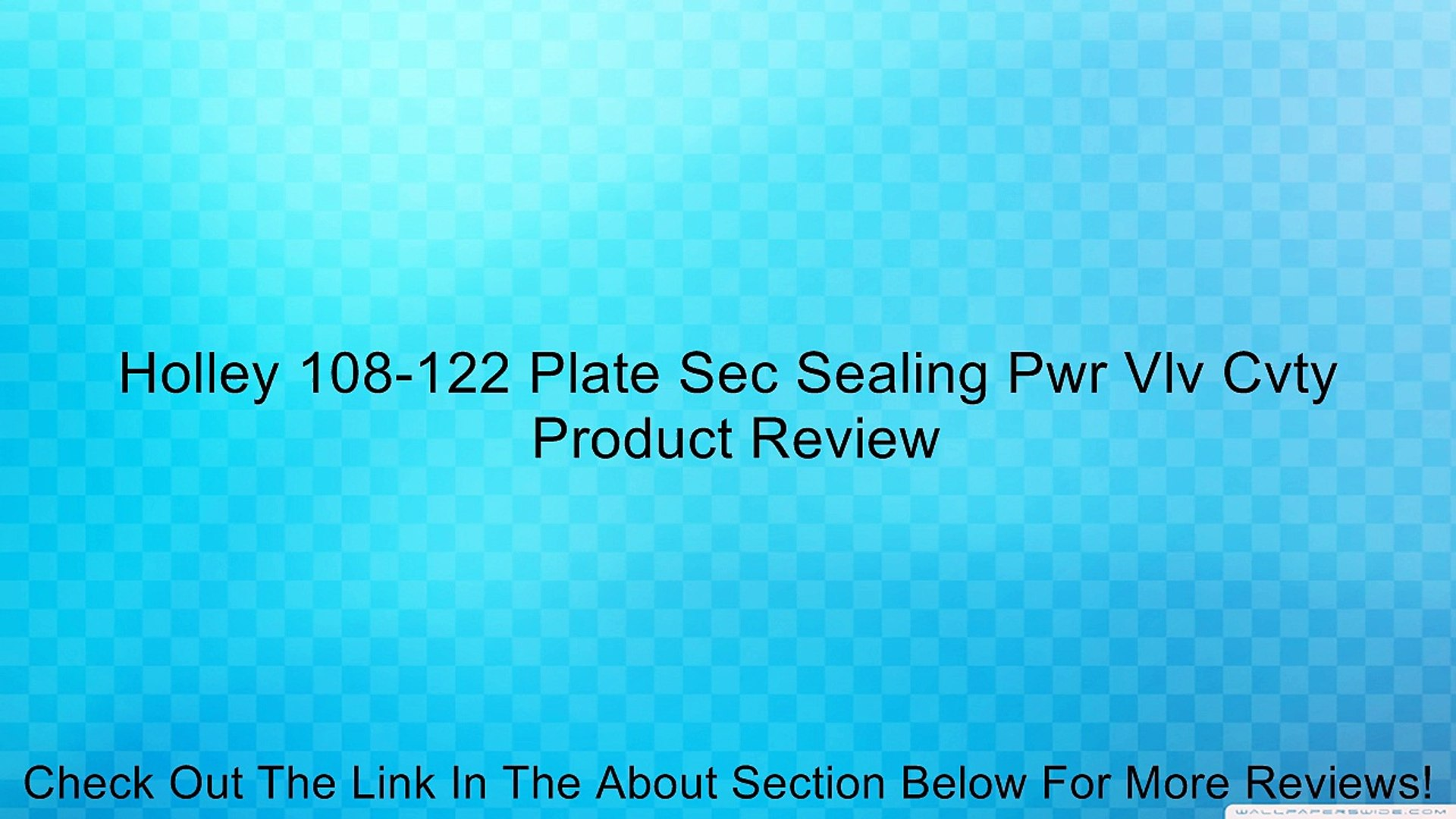 Holley 108-122 Plate Sec Sealing Pwr Vlv Cvty