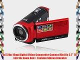 Hd 720p 16mp Digital Video Camcorder Camera Mini Dv 2.7'' TFT LCD 16x Zoom Red   Fashion Silicon