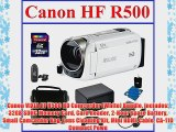 Canon VIXIA HF R500 HD Camcorder (White) Bundle includes: 32GB SDHC Memory Card Card Reader