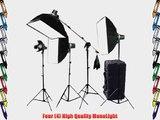 CowboyStudio Photo Studio Four Strobe Flash Lighting Kit with Carrying Case - 4 STUDIO FLASH/STROBE