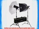 Interfit INT428 Stellar X 300 Watt/Second 2 Head Kit with Umbrella and Softbox